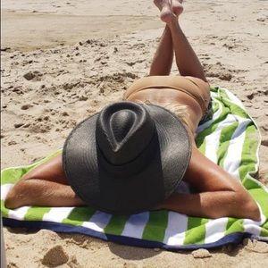 Janessa Leone black straw hat M